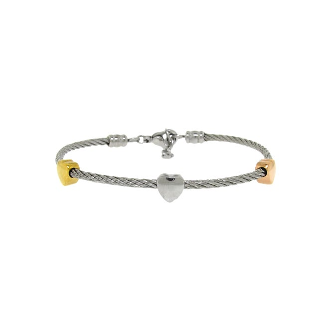 Two-tone Stainless Steel Twisted Wire Heart Bracelet