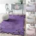 Handmade Luna Moda Carved Purple New Zealand Wool Rug (4' x 6')