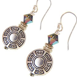 Misha Curtis Sterling Silver Aztec Disc Crystal Earrings