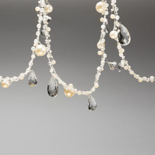 Set of Two Crystal Gold and Pearl Christmas Garland