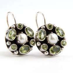 Sterling Silver Pearl and Peridot Earrings (India)