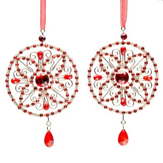 Set of Four Red Crystal Medallion Christmas Ornament
