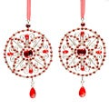 Selections by Chaumont Red Crystal Medallion Christmas Ornament (Set of 2)