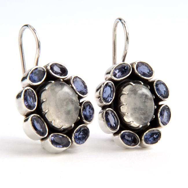 Sterling Silver Moonstone and Iolite Earrings (India)