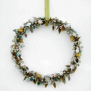 Silver and White Christmas Wreath with Frosted Ornaments (India)