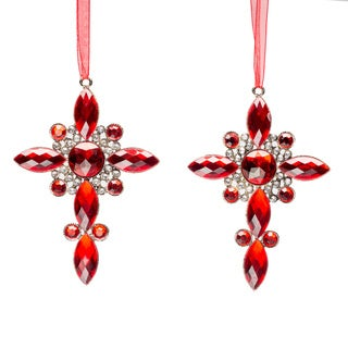 Set of Four Christmas Red Crystal Cross Ornament by Selections by Chaumont