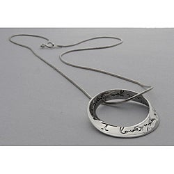 Sterling Silver 'I Love You More' Mobius 18-inch Necklace (Thailand)