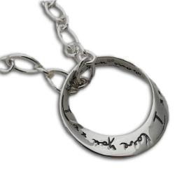 Sterling Silver 'I Love You More' Mobius 17-inch Necklace (Thailand)
