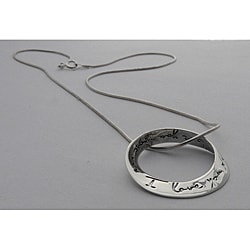 Sterling Silver 16-in 'I Love You More' Mobius Necklace (Thailand)