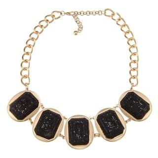 Nexte Jewelry Goldtone Black Sparkle Beaded Bib Necklace