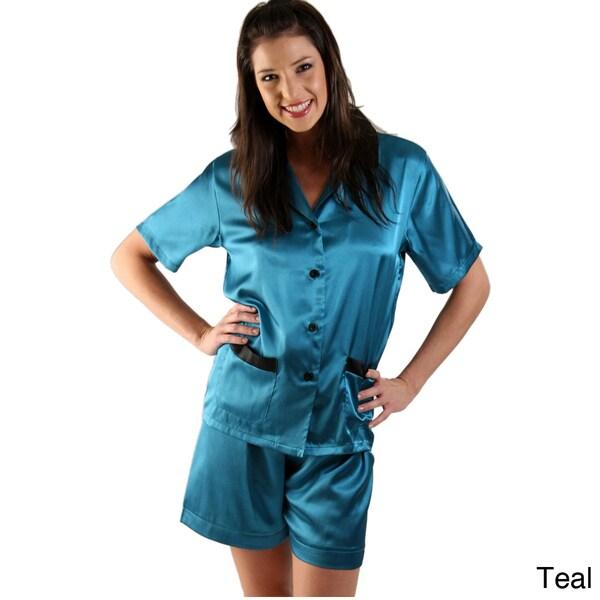 Alexander Del Rossa Women's Satin Short Pajama Set