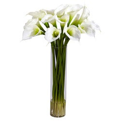 Cylinder Vase Calla Lilly Flower Arrangement