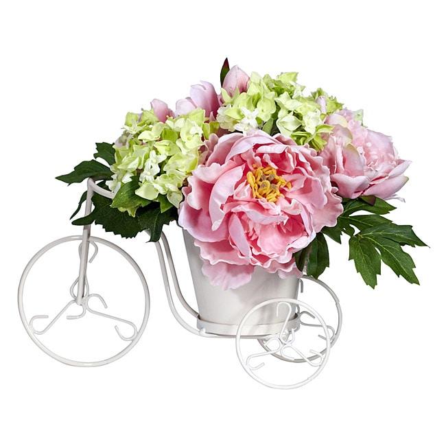 Peony and Hydrangea Tricycle Silk Flower Arrangement