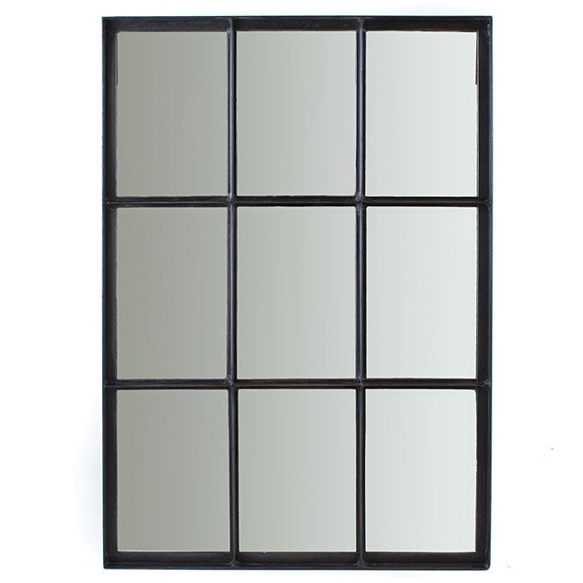 Iron 9 pane window mirror india 13904501 overstock Window pane mirror
