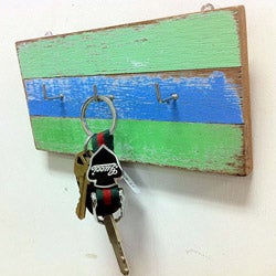 Recycled Wood 3-Ring Key Hanger (Thailand)