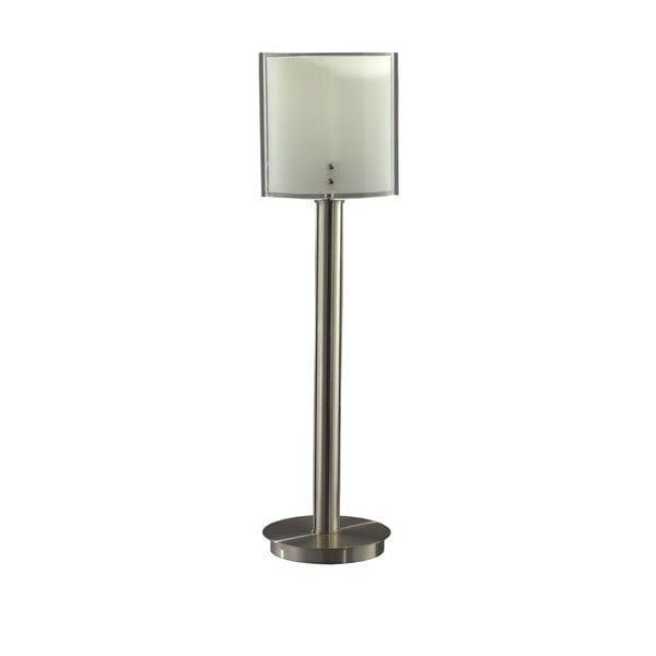 Buffet Lamp Brushed Chrome Pillow Glass Shade