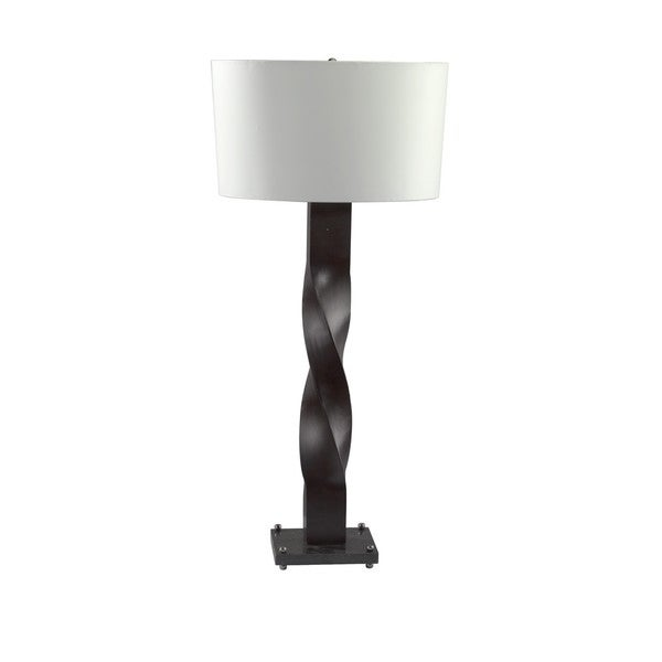 Large Rectangle Wood 6A Twisted Table Lamp