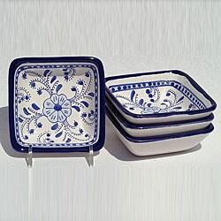 Le Souk Ceramique Azoura Design 4-inch Square Sauce Dishes (Set of 4)
