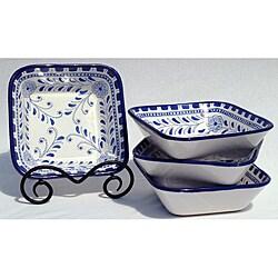 Set of 4 Azoura Design Square 8-inch Salad Bowls (Tunisia)