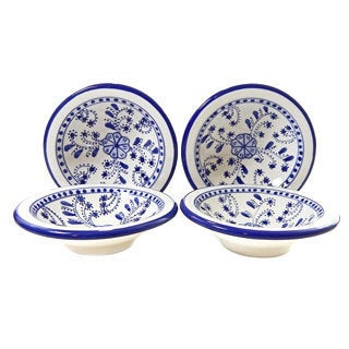 Le Souka Ceramique Azoura Design 5-inch Round Sauce Dishes (Set of 4)