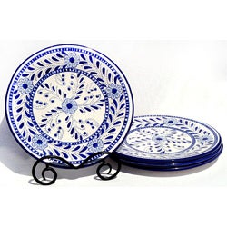 Set of 4 Azoura Design 11-inch Round Dinner Plates (Tunisia)