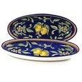 Set of 2 Citronique Design Ceramic 16-inch Oval Platters (Tunisia)