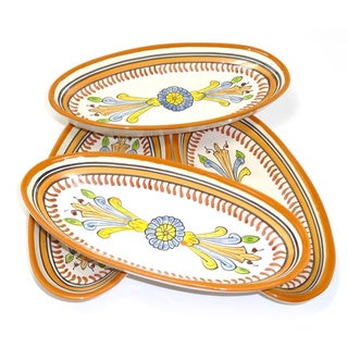 Set of 4 Sauvage Design Ceramic 9-inch Oval Platters (Tunisia)