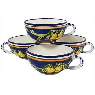 Set of 4 Citronique Design 14-oz Latte/ Soup Mugs (Tunisia)