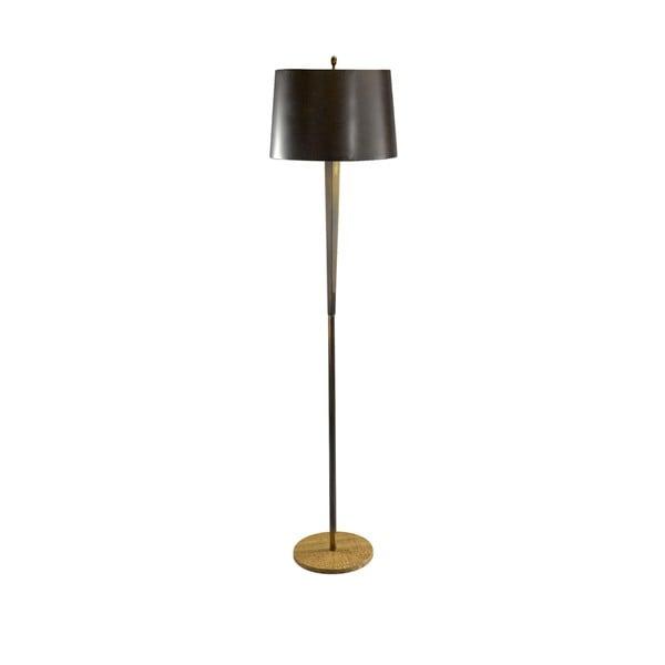Tall Burnished Brass/ Wood Grain Stone Hexagon Column Floor Lamp