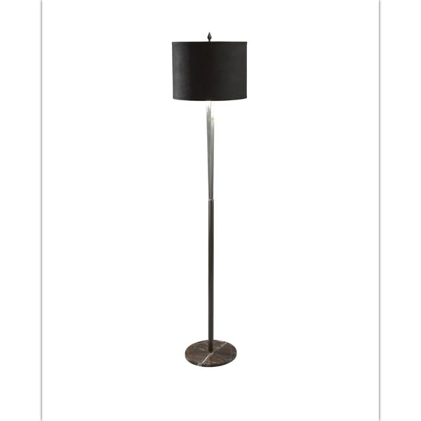 Tall Burnished Nickel/ Red Marble Triangle Column Floor Lamp