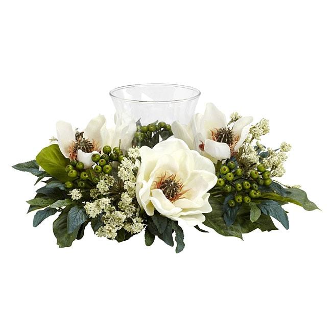 Magnolia Candelabrum Silk Flower Arrangement 13904651