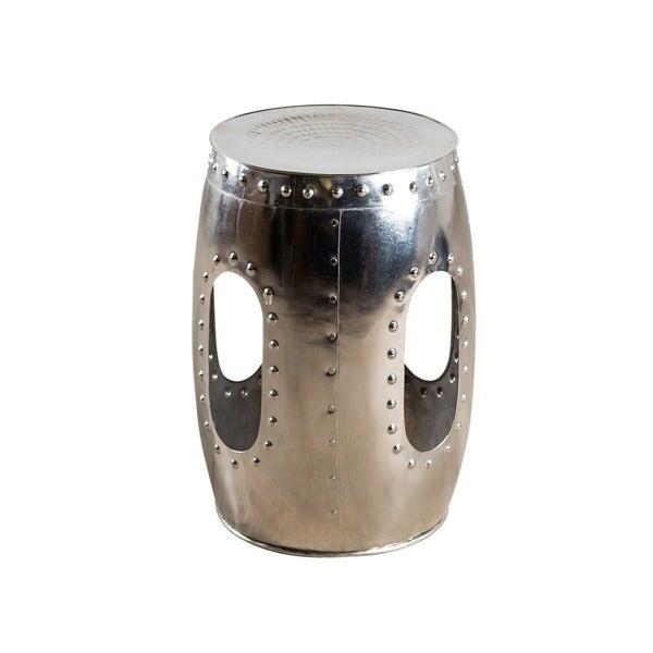 Round Mirror Nickel Rivet Barrel Stool (India)