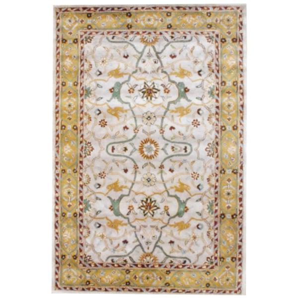 Herat Oriental Indo Hand-tufted Mahal Beige/ Gold Wool Rug (6' x 9')