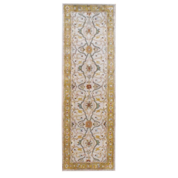 Herat Oriental Indo Hand-tufted Mahal Beige/ Gold Wool Rug (2'6 x 8)