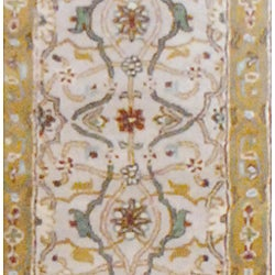 Indo Hand-tufted Mahal Beige and Gold Wool Rug (2'6 x 8)