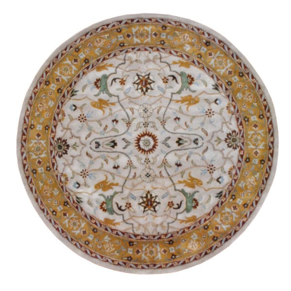 Indo Hand-tufted Mahal Beige and Gold Wool Rug (8' Round)