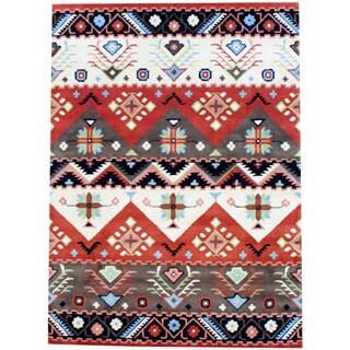 Indo Hand-tufted Tibetan Beige and Rust Wool Rug (8' x 11')