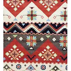 Indo Hand-tufted Tibetan Beige and Rust Wool Rug (5' x 8')