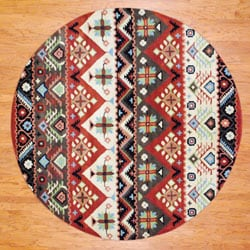 Indo Hand-tufted Tibetan Beige and Rust Wool Rug (8' Round)