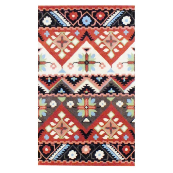 Indo Hand-tufted Tibetan Beige and Rust Wool Rug (3'3 x 5'3)