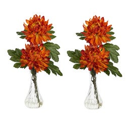 Mum with Bud Vase (Set of 2)