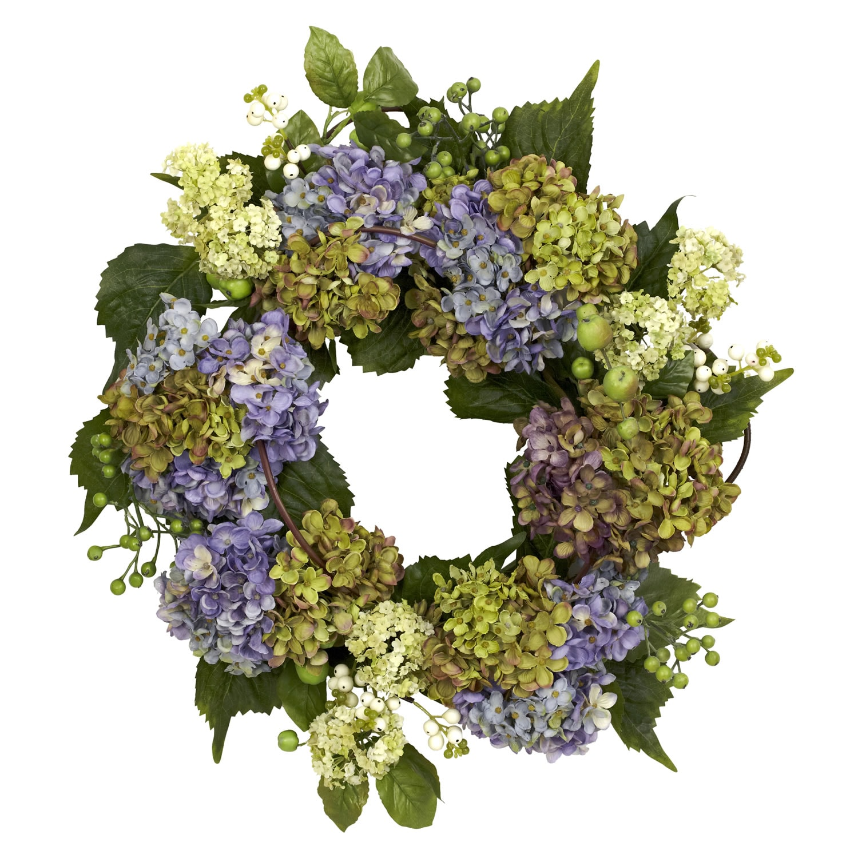 Round 22-inch Hydrangea Wreath