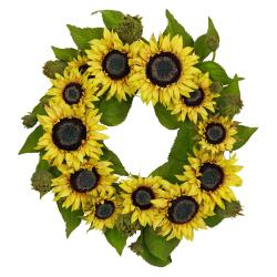 Round 22-inch Sunflower Wreath