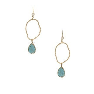 NEXTE Jewelry Gold Overlay Turquoise and Cubic Zirconia Earrings