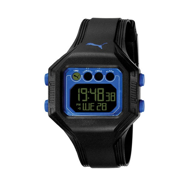 Puma Men's 'Bounce' Black and Blue Digital Watch