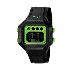 Puma Men's 'Bounce' Black and Neon Green Digital Watch