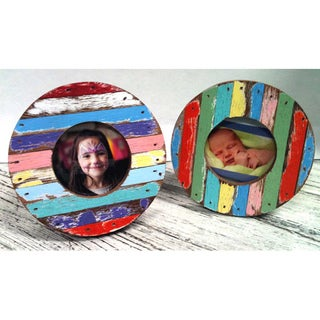 Set of 2 Chimlin Round Boat Wood Photo Frames , Handmade in Thailand