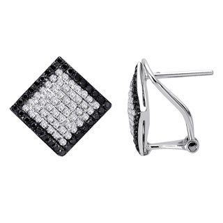 Auriya 14k White Gold 3/4ct TDW Black and White Diamond Earrings (G-H, I1-I2)