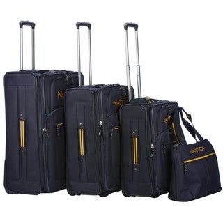 Nautica Helmsman Navy / Yellow 4-piece Luggage Set