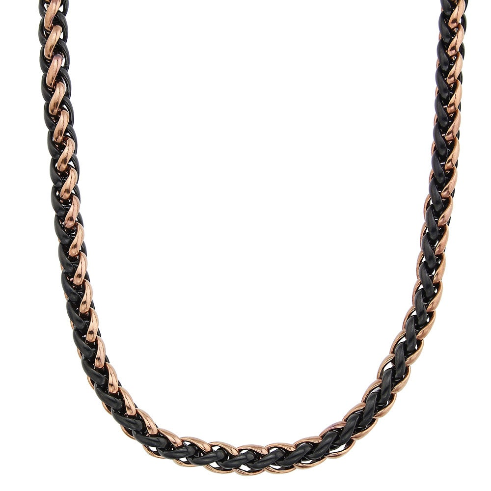 Stainless Steel Men's 24-inch Wheat Chain Necklace